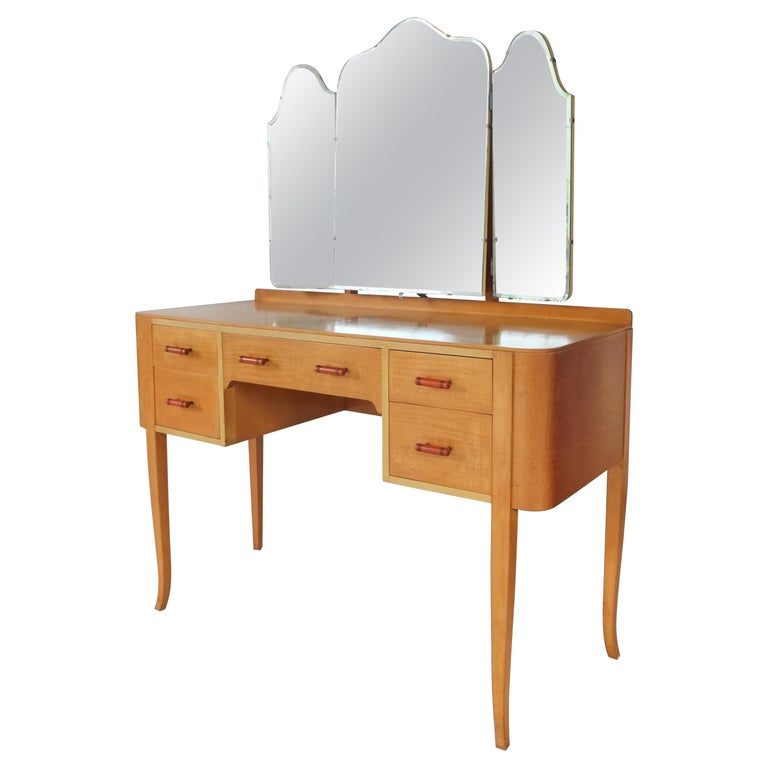 Elegant British 1950s Mirrored Dressing Table  For Sale