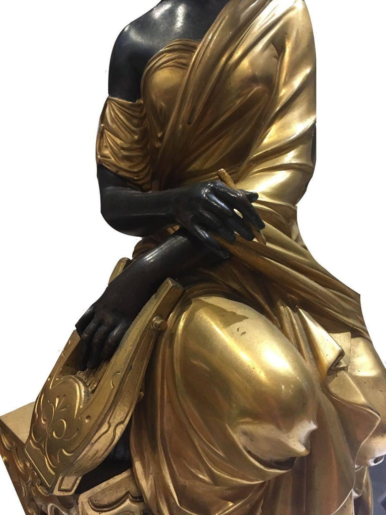 French Elegant Bronze Figurine, a Female Sitting Down, Signed by François- Devaulx For Sale