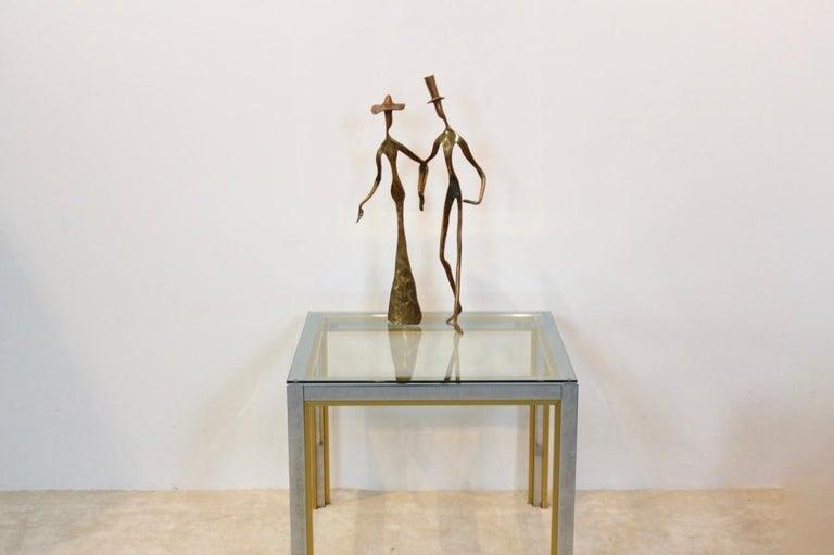 Belgian Elegant Bronze 'Holding Hands' Sculpture, 1970s For Sale