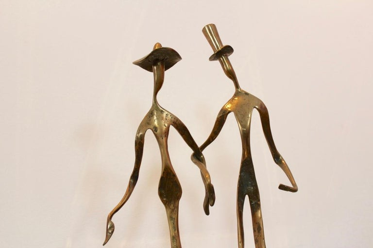 Brass Elegant Bronze 'Holding Hands' Sculpture, 1970s For Sale