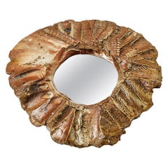 Elegant Brown Stoneware Wall Ceramic Mirror by H'rdy, circa 1970