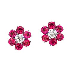 Elegant Burmese Ruby and Diamond Earrings