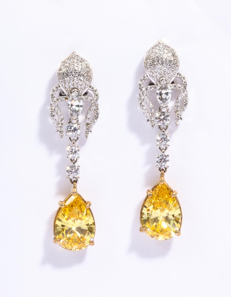 Elegant Canary Yellow And White Cubic Zirconia Sterling Silver Clip Post Earrings measure 21/4 inches long