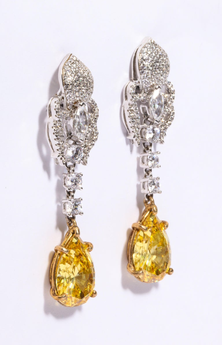 Modern Elegant Canary Yellow Cubic Zirconia Sterling Silver Clip Post Dangling Earrings For Sale