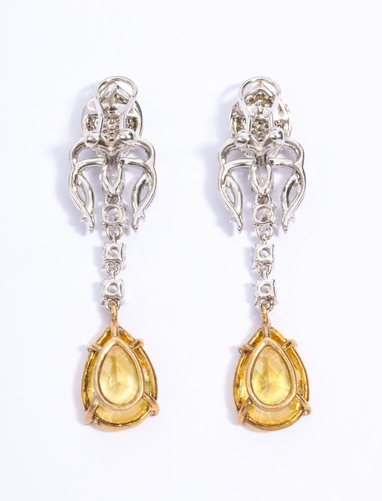 Elegant Canary Yellow Cubic Zirconia Sterling Silver Clip Post Dangling Earrings In Excellent Condition For Sale In New York, NY