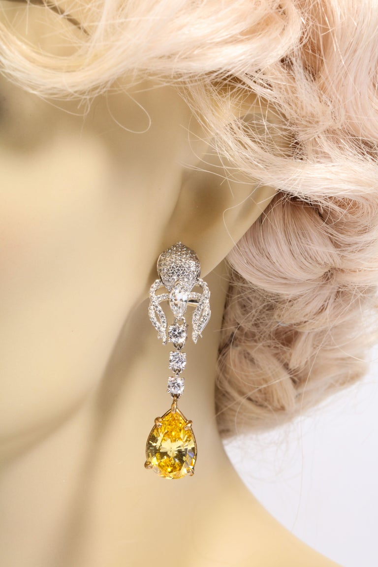 Women's or Men's Elegant Canary Yellow Cubic Zirconia Sterling Silver Clip Post Dangling Earrings For Sale