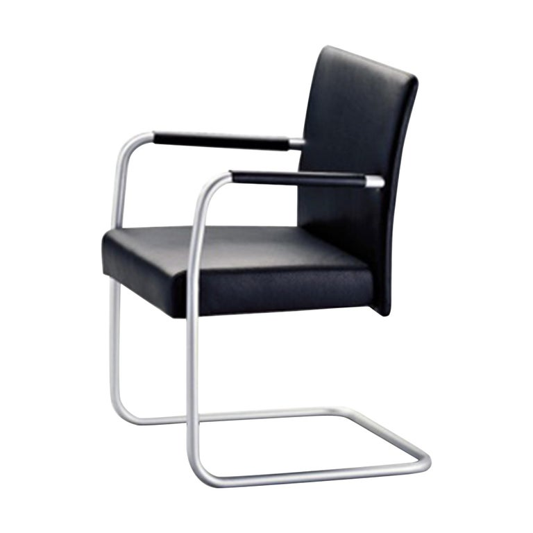 Walter Knoll Cantilever Matt Chrome and Black Leather Set of Two Jason Armchairs For Sale