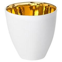 Elegant Ceramic Gold Glazed Big Tea or Coffee Cup, Contemporary Handmade Design