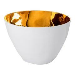Elegant Ceramic Gold Glazed Large Serving Bowl Contemporary Handmade Design