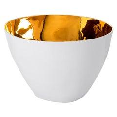 Elegant Ceramic Gold Glazed Medium Sized Bowl Contemporary Handmade Design