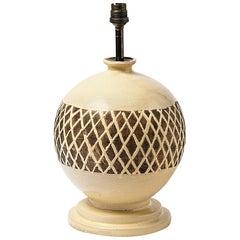Elegant Ceramic Lamp Signed JB under the Base, Made in France, circa 1930