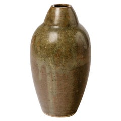 Elegant Ceramic Vase by Armand Bedu La Borne circa 1950 Brown and Green