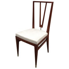Elegant Chair in Stained Beech and Brass, France or Italy, circa 1940
