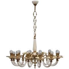 Elegant Chandelier in Opal Glass and 1950s Italian Design Brass