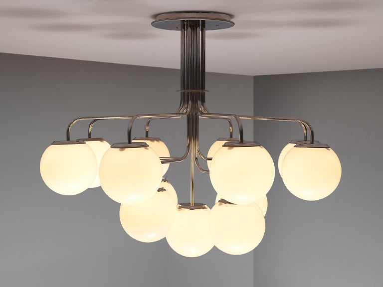 Mid-Century Modern Elegant Chandeliers in Chrome and Opal Glass, Italy, 1970s For Sale
