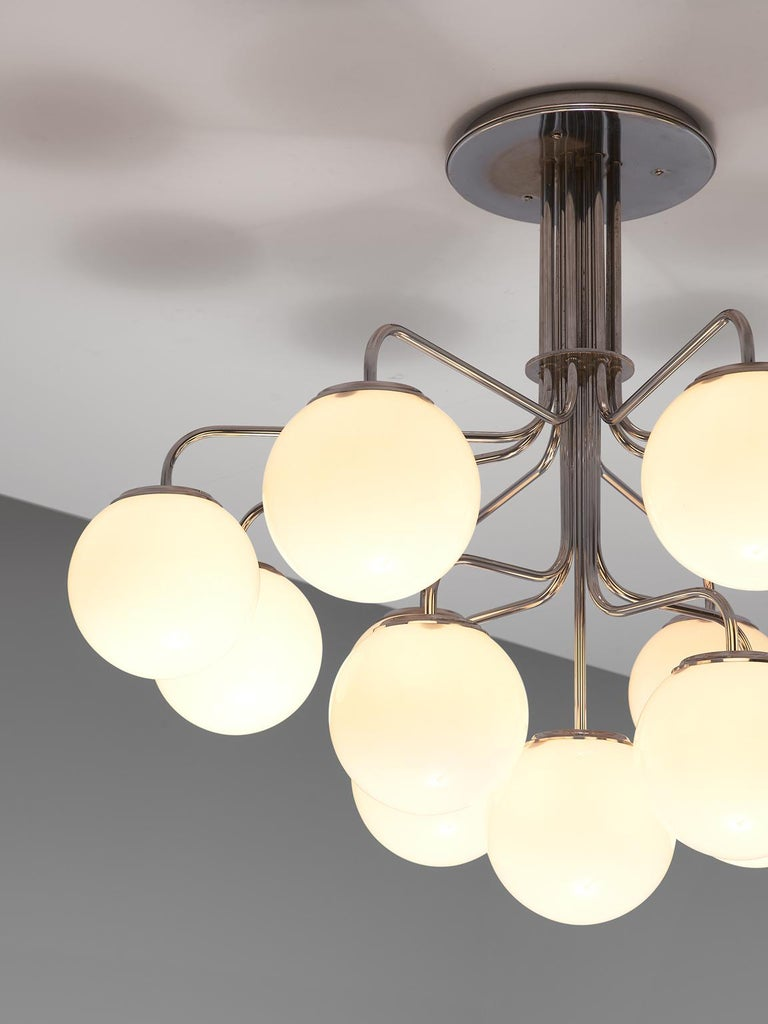 Italian Elegant Chandeliers in Chrome and Opal Glass, Italy, 1970s For Sale