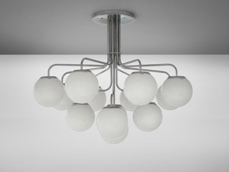 Late 20th Century Elegant Chandeliers in Chrome and Opal Glass, Italy, 1970s For Sale