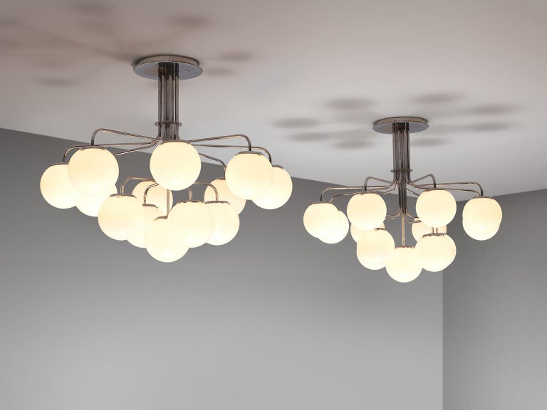 Opaline Glass Elegant Chandeliers in Chrome and Opal Glass, Italy, 1970s For Sale