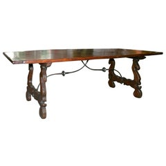 Elegant Chestnut and Forged Iron Refectory Table