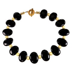 Elegant Choker Necklace of Black Onyx with Gold Accents