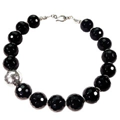 Elegant Choker Necklace of Black Onyx with Pure Silver Focal, 15.5 Inches
