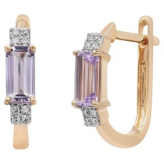 Elegant Classic Combination Amethyst Diamond Pink Gold Earrings
