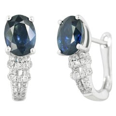 Elegant Classic Combination Blue Sapphire Diamond White Gold Earrings