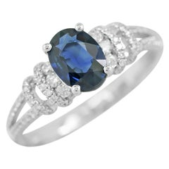 Elegant Classic Combination Blue Sapphire Diamond White Gold Ring