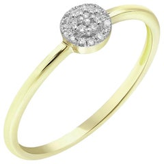 Elegant Classic Combination Diamond Yellow Gold Every Day Ring