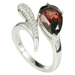 Elegant Classic Combination Garnet Diamond White Gold Ring