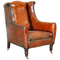 Elegant Classic Fully Restored Edwardian Brown Leather Club Wingback Armchair