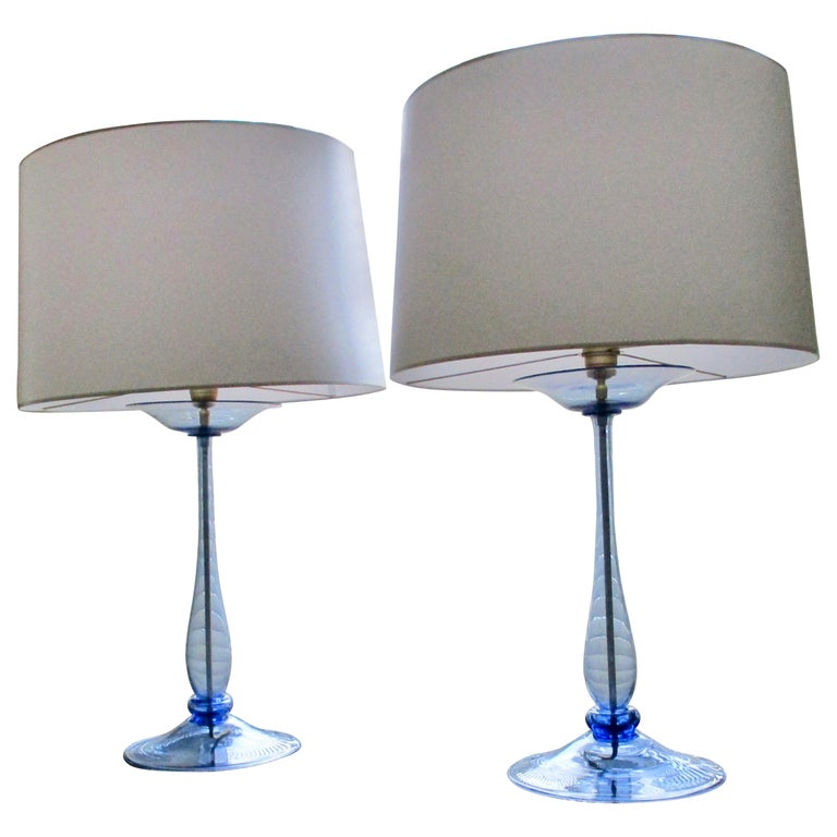 Elegant Cobalt Blue Murano Lamps Attributed to Venini, Italy, 1930 For Sale