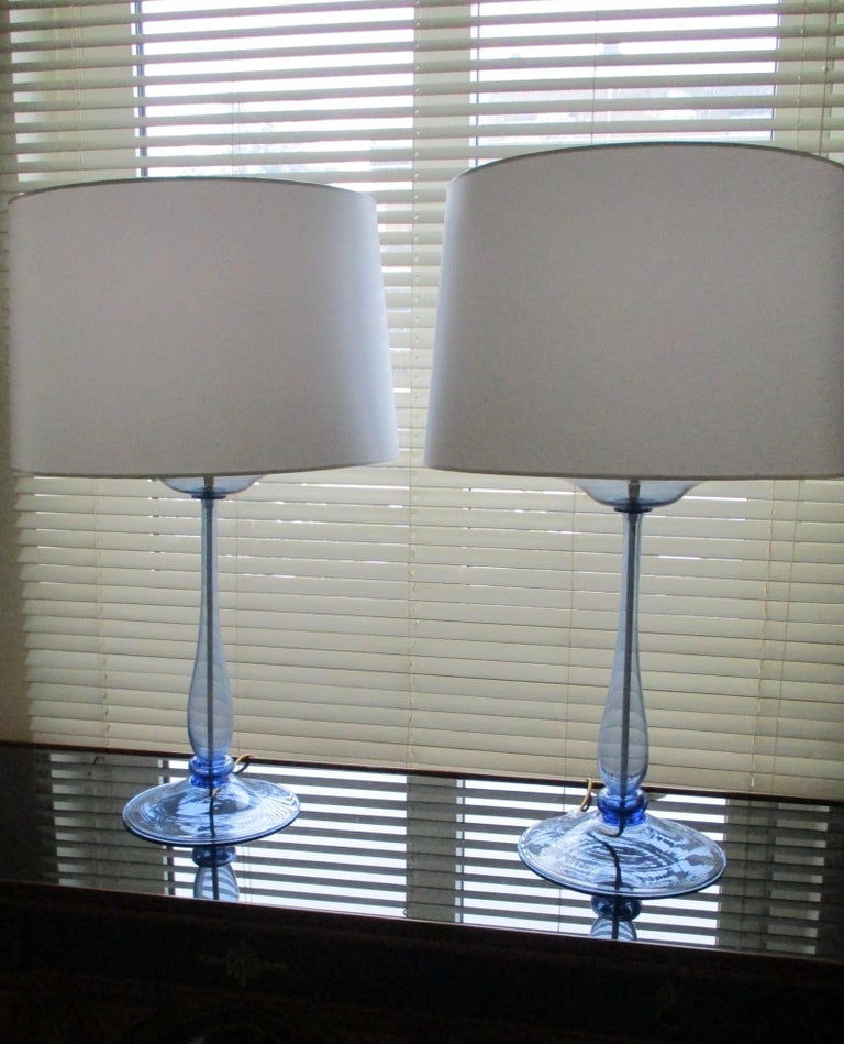 Pair of big Murano lamps attributed to Venini, Cappellin. New lampshades, new wiring, one light, circa 1930.
