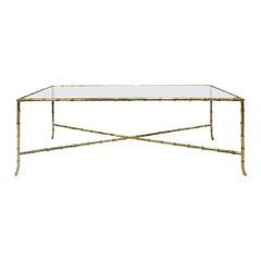 Elegant Coffee Table in Brass with Bamboo Motif, 1950s