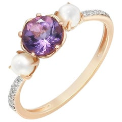 Elegant Combination Pearls Amethyst Diamond White Pink Ring