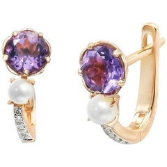 Elegant Combination Pearls Purple Amethyst Diamond Pink Gold Lever Back Earrings