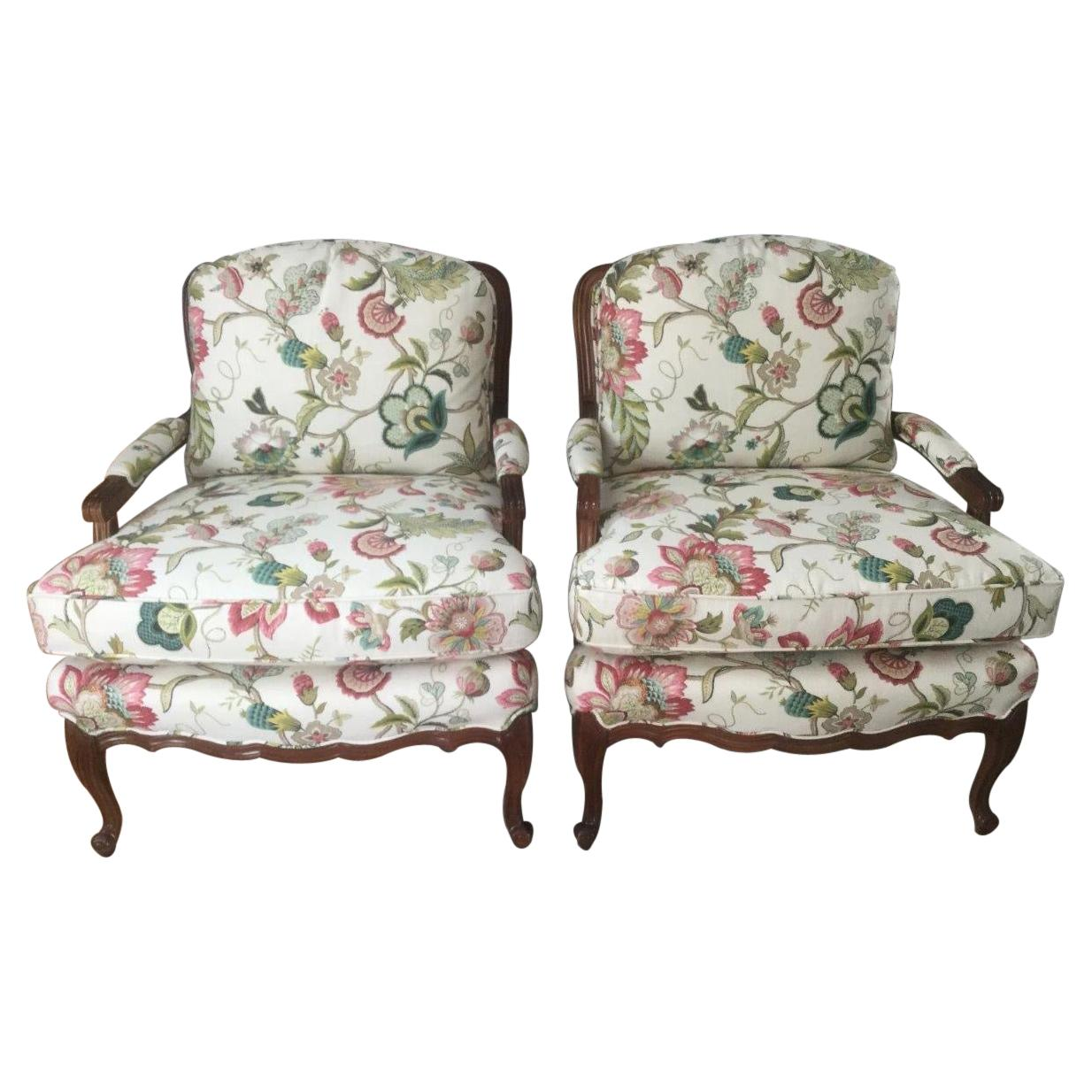 Elegant Comfy Pair of French Style Bergere Armchairs with Floral Upholstery