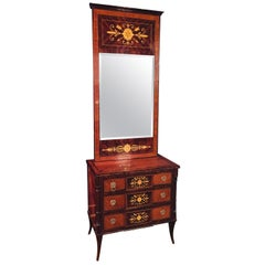 Elegant Commode with Mirror Biedermeier Style with Inlays