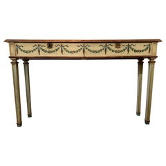 Elegant Continental Neoclassical Painted Console Table with Two Drawers