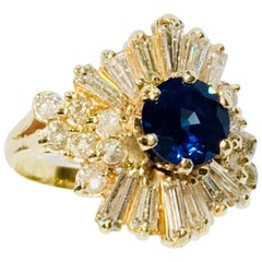 Elegant Cornflower Blue Sapphire Diamond Baguette Ballerina Yellow Gold Ring
