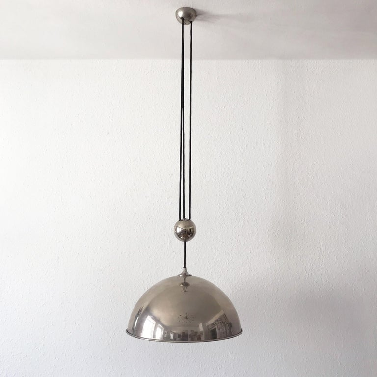Plated Elegant Counter Balance Pendant Lamp by Florian Schulz Germany 1980s For Sale