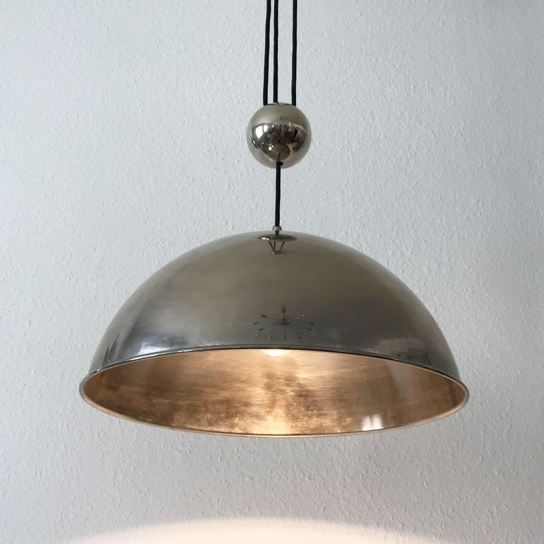 Nickel Elegant Counter Balance Pendant Lamp by Florian Schulz Germany 1980s For Sale