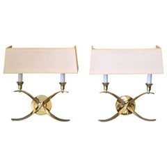 Elegant Crossed Scrollwork Stainless Steel Double Sconces and Paper Shades, Pair