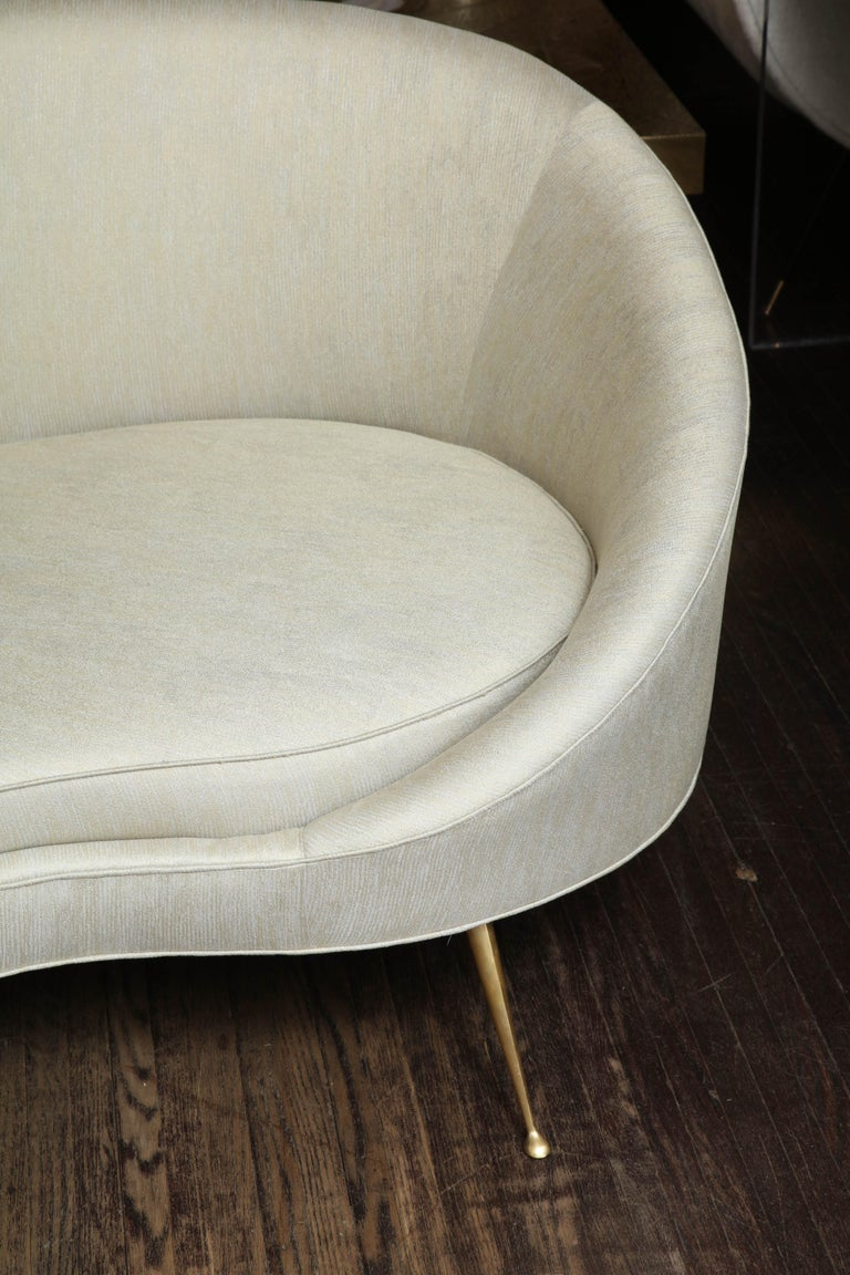 Contemporary Elegant Curved Sofa in Custom Upholstery with Brass Legs For Sale