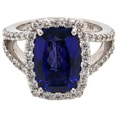 Elegant Cushion Tanzanite 4.98 Carat Diamond 18 Karat White Gold Ring