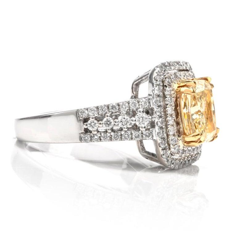 Art Deco Elegant Cushion Yellow Diamond Double Halo 18 Karat Engagement Ring For Sale