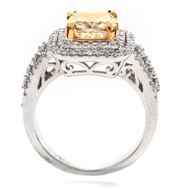 Women's or Men's Elegant Cushion Yellow Diamond Double Halo 18 Karat Engagement Ring For Sale