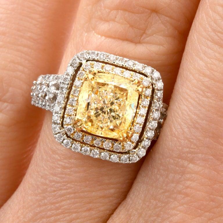 Elegant Cushion Yellow Diamond Double Halo 18 Karat Engagement Ring For Sale 1