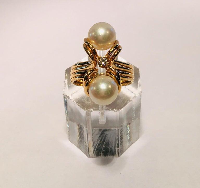 Elegant Custom 18 Karat Yellow Gold Double White Pearls and Diamond