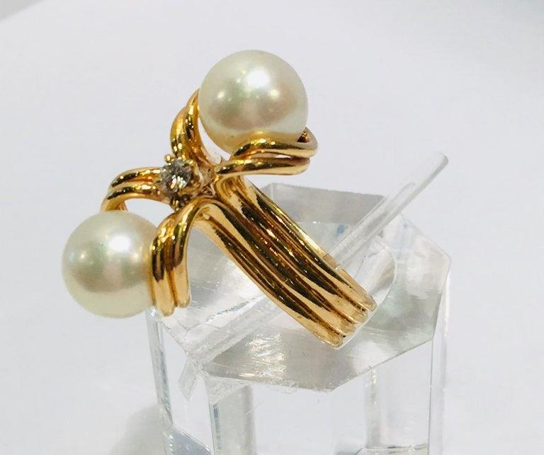 Artisan Elegant Custom 18 Karat Yellow Gold Double White Pearls and Diamond